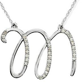 "1/4ct Diamond ""M"" Initial Pendant 18"" Necklace 14K White Gold (G/H, I2)"