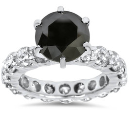 9ct Black & White Diamond Eternity Engagement Ring 14K White Gold (G/H, I1-I2)