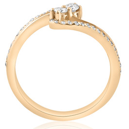 1728b5d29cd4 1/2ct Two Stone Diamond Forever Us Engagement Ring 10k Yellow Gold (I/J,  I1-I2)