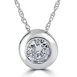14K White Gold 1/2ct Round Solitaire Diamond Solitaire Bezel Pendant (G/H, I1)
