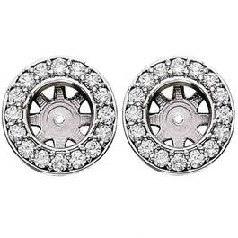 3/4ct Diamond Earring Studs Halo Jackets 14K  (5.5-6mm) (G-H, SI)