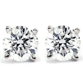 1/4Ct Round Diamond Stud Earrings in 14K White or Yellow Gold Classic Setting (I/J, I2-I3)