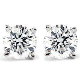 Tiny 1/4Ct Round Diamond Small Stud Earrings in 14K White or Yellow Gold Classic Setting (I/J, I2-I3)