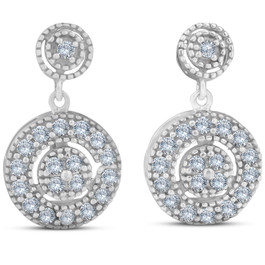 1/2ct Diamond Dangle Earrings 10K White Gold (H/I, I2-I3)