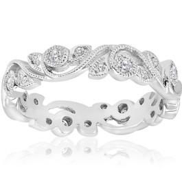1/4ct Vintage Stackable Filigree Diamond Eternity Wedding Ring 14k White Gold (G-H, I1)
