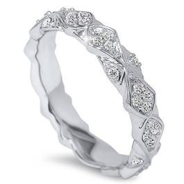 1/2ct Vintage Sculptural Diamond Eternity Ring 14K White Gold (H/I, I1-I2)