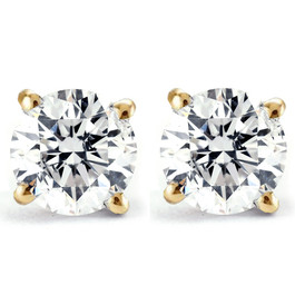 2 ct Round Diamond Studs in 14k Yellow Gold Screw Back Clarity Enhanced ((G-H), SI(1)-SI(2))