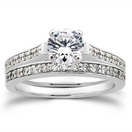 1/2ct Diamond Engagement Matching Wedding 14K White Gold Ring Set (G/H, I1)