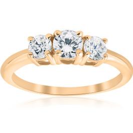 1ct 3 Stone Diamond Engagement Round Cut Ring 10k Yellow Gold (I/J, I2-I3)