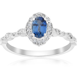 3/4ct Oval Blue Sapphire Diamond Halo Vintage Engagement Ring 14K White Gold (I/J, I2)