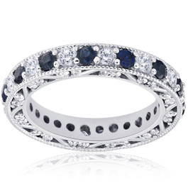 2ct Blue Sapphire & Diamond Antique Deco Eternity Wedding Ring 14k White Gold (I/J, SI2-I1)