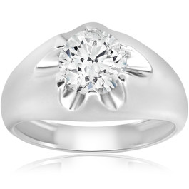 1 1/2ct Diamond Solitaire Mens Belcher Wedding Ring 14k White Gold (H/I, SI2-I1)