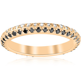 5/8ct Black & White Diamond Eternity Wedding Ring 14k Yellow Gold (G/H, I2)