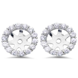 3/4ct Diamond Halo Earring Studs Jackets 14K White Gold (6-6.7mm) (G-H, I1)
