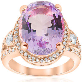 9 1/2ct Oval Amethyst Vintage Halo Diamond Ring 14k Rose Gold (H/I, I1-I2)