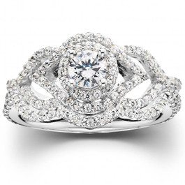1 CT Diamond Intertwined Engagement Matching Wedding Ring Set 10K White Gold (H/I, I1-I2)