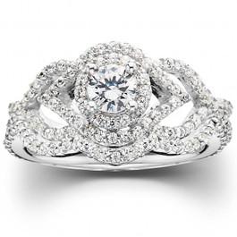 1 CT Diamond Intertwined Engagement Matching Wedding Ring Set 10K White Gold (H/I, I1-I2)