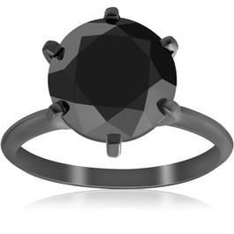 5 1/2ct Black Diamond Solitaire Engagement Ring 14k Black Gold (Black, )
