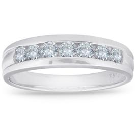 5/8ct Diamond Wedding 14K White Gold Anniversary Ring (G/H, I1)