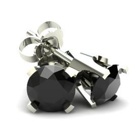 .85Ct Round Brilliant Cut Heat Treated Black Diamond Stud Earrings in 14K Gold Classic Setting (Black, AAA)