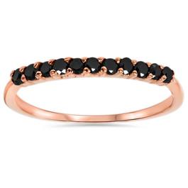 Rose Gold 1/4ct Treated Black Diamond Wedding Anniversary Ring 14Karat (Black, AAA)