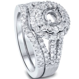 3/4ct Round Double Halo Diamond Engagement Ring Setting Set (G/H, SI1-SI2)