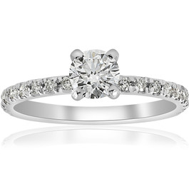 3/4ct Diamond Engagement Ring French Pave Set 14k White Gold (H/I, I1-I2)