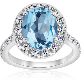4 cttw Blue Topaz Diamond Halo Vintage Ring Engagement 14k White Gold (H/I, I1-I2)