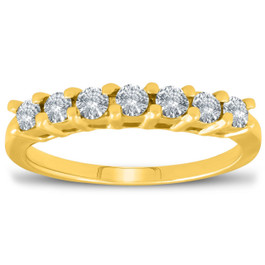 5/8ct 14K Yellow Gold Lab Created Diamond Anniversary Wedding Ring (F, VS)