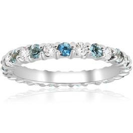 1ct Diamond & Aquamarine Eternity Ring Common Prong 14k White Gold Stackable (H/I, I1-I2)