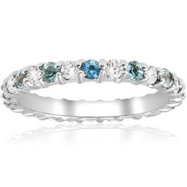 1ct Diamond & Aquamarine Eternity Ring Common Prong 14k White Gold Stackable (H/I, I1-I2)