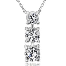 3/4ct 3-Stone Diamond Pendant 14k White Gold (I-J,I2-I3) (G/H, I1)