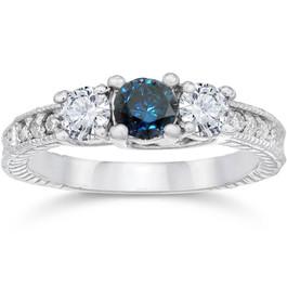 1ct Vintage Blue Diamond 3-Stone Engagement Ring 14K White Gold (G/H, I1-I2)