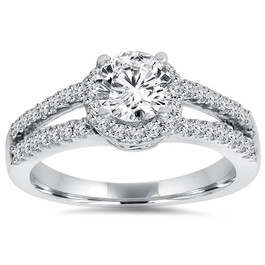 3/4 Ct Halo Split Shank Lab Created Diamond Engagement Ring 14K White Gold (((G-H)), SI(1)-SI(2))