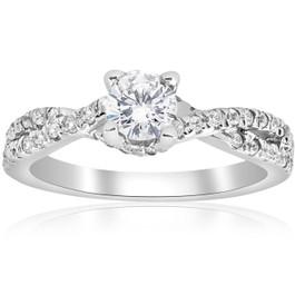 3/4ct Diamond Infinity Engagement Twist Ring 14K White Gold (G/H, I1)