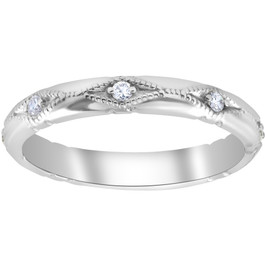 Diamond Wedding Ring Vintage Stackable Womens Engagement 14k White Gold Band (G/H, SI1-SI2)
