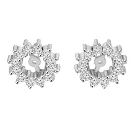 1/2ct Diamond Earrings Jackets 14K White Gold  (5-5.5mm) (G-H, I1)