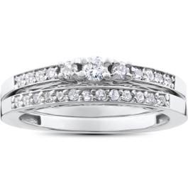 1/2ct 3 Stone Engagement Wedding Ring Set 14K White Gold (H/I, I2-I3)