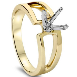 Contemporary Solitaire Engagement 14K Gold Ring Setting