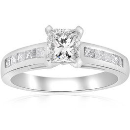 1 1/2ct Princess Cut Diamond Engagement Ring 14k White Gold Enhanced (H/I, I1-I2)