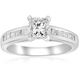 1 1/2ct Princess Cut Diamond Engagement Ring 14k White Gold Enhanced (H/I, I1-I2)