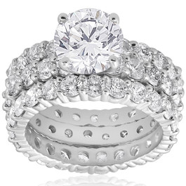 7ct Diamond Engagement Eternity Wedding Ring Set 14k White Gold (H/I, I1-I2)