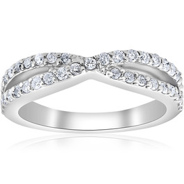 3/8Ct Diamond Crossover Infinity Stackable Wedding Band Twist Ring White Gold (H/I, I1-I2)