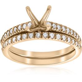 3/8ct Diamond Engagement Ring Setting & Wedding Band 14k Yellow Gold (G/H, I1-I2)