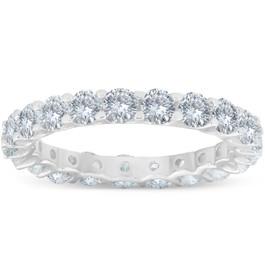 2 cttw Diamond Eternity Ring U Prong 14k White Gold Wedding Band (H-I, I1)