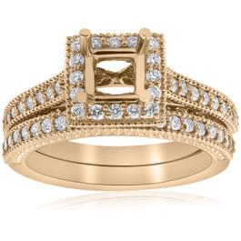 Yellow Gold Princess Cut Diamond Princess Cut Halo Engagement Ring Semi Mount (G/H, I1-I2)