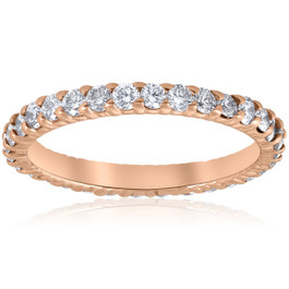 G/SI .90ct Diamond Eternity Ring 14k Rose Gold Womens Stackable Wedding Band ((G-H), SI(1)-SI(2))