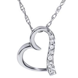 Diamond Heart Shape Pendant 10K White Gold (G/H, I1)