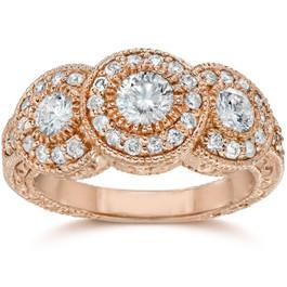 1 1/2 Ct Vintage Diamond 3 Stone Halo Engagement Ring Round Cut 14K Rose Gold (H/I, I1-I2)