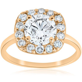 2cttw Diamond Cushion Halo Engagement Ring 14k Yellow Gold ((G-H), SI(1)-SI(2))